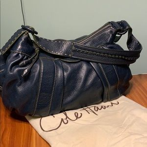 COLE HAAN Navy Leather Large Hobo~white stitching